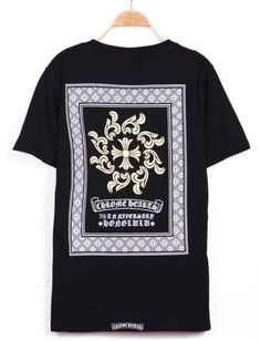 #SheInside Black Short Sleeve Back Diamond Print T-Shirt - Sheinside.com