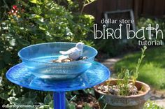 3 dollars and 30 minutes to a colorful birdbath for your backyard! via dollarstoremom.com
