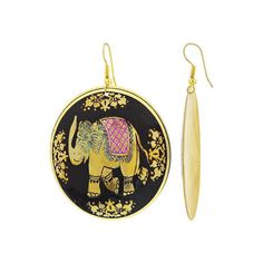 48mm Round Gold Tone Black and Pink Enamel Elephant Design Drop Earrings