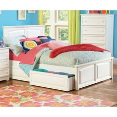 Found it at www.dcgstores.com - ♥ ♥ Monterey Platform Bed w/ Raised Panel Footboard and Drawers in White ♥ ♥