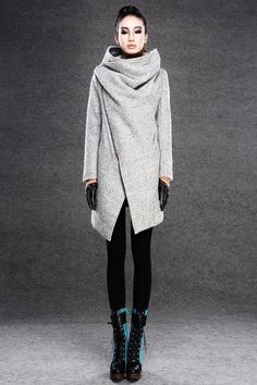 Gray asymmetrical coats jackets winter coats for wome by YL1dress on Etsy #minimalist #fashion #style