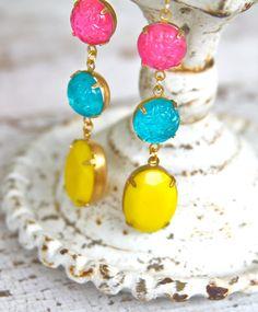 Vintage Bright Yellow Oval Stones Hot Pink Round by heathernn1, $34.00