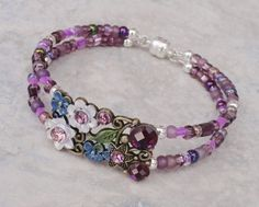 BRACELET Fairy Blossom Purple and Bronze Crystal Memory Wire with Magnetic Clasp - $22.00 - Handmade Jewelry, Crafts and Unique Gifts by Pinx & Lulas
