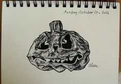 my inktober drawing, spooky pumpkin