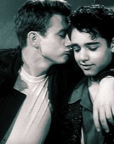 Bromance. James Dean gives Sal Mineo a peck on the cheek.