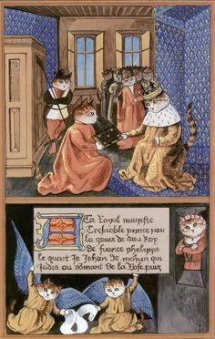 """""""Jean of Meun Presenting his Translation (Cats Medieval)"""" par Susan Herbert"""