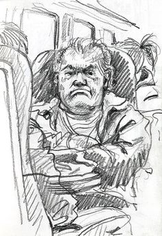 Lynne Chapman - Drawing on the train.  3B pencil.