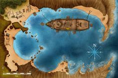 Plunder and Peril Adventure map for Pathfinder rpg on Behance Pirate Adventure, Adventure Map, Fantasy Map, Medieval Fantasy, Pathfinder Maps, Pirate Maps, Dnd Monsters, Dungeon Maps, Call Of Cthulhu