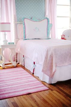 This could look good in Emma's new room with her pink linens.  Maybe a little lighter on the blue.