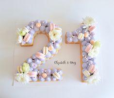 Birthday Number Cake, Purple, pink and White. www.elizabethandmay.com