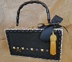 Items similar to Black-Gold Studded- Punk Goth Purse - Arturo Fuente Cigar Box Purse- Skull and Crossbone Accent - High Fashion -Awesome! on Etsy Cigar Box Diy, Cigar Box Crafts, Vintage Cigar Box, Cigar Box Purse, Altered Cigar Boxes, Wedding Gifts For Groomsmen, Groomsman Gifts, Wedding Favors, Wedding Souvenir