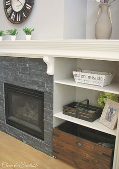 fireplace stone and mantel idea