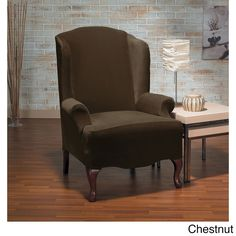 Sure Fit Eastwood Plush One Piece Stretch Wing Chair Slipcover (Chesnut), Brown (Solid)