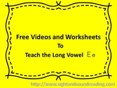 Teaching the Long Ee Sound:  Phonics Videos and Worksheets.  Visit http://www.sightandsoundreading.com for more resources.
