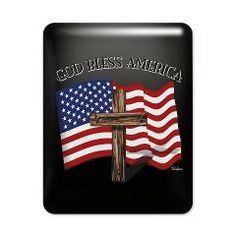 God Bless American With US Flag and Rugged Cross  iPad Case    •   This design is available on t-shirts, hats, mugs, buttons, key chains and much more   •   Please check out our others designs at: www.cafepress.com/TsForJesus