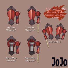 Commission: Garnett' Drake's Ashkelon for Viktormayrin Ninja Weapons, Anime Weapons, Sci Fi Weapons, Weapon Concept Art, Fantasy Weapons, Kamen Rider Belt, Character Concept, Character Design, Rwby Oc