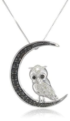 10k White Gold Black and White Diamond Owl Crescent Moon Pendant Necklace