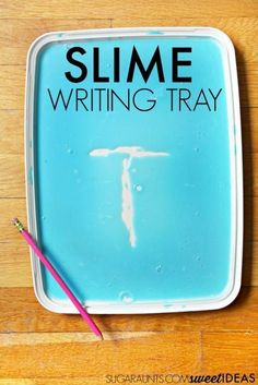 This fun slime writing tray is perfect for making handwriting fun!  Great for practicing letters, numbers and even sight words. Handwriting Activities, Alphabet Activities, Hands On Activities, Literacy Activities, Preschool Alphabet, Handwriting Worksheets, Alphabet Crafts, Literacy Stations, Handwriting Practice
