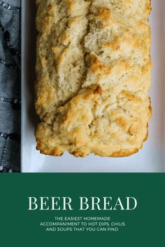 Six simple ingredients, 5 minutes of prep, and an hour in the oven and you get this Beer Bread. This dense, buttery bread is a favorite pairing for a hearty hot or cold dip, and in winter, your favorite chili or soup. Savory Bread Recipe, Easy Bread Recipes, White Bean Turkey Chili, Favorite Chili Recipe, Homemade Beer, Beer Bread, Spinach Dip, Frugal Meals, Pampered Chef
