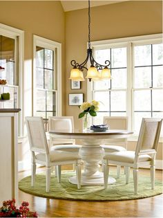 Summer Hill Dining Table & Chairs-has an elegant vibe with the chairs yet rustic/farmhouse feel. Ana Furniture