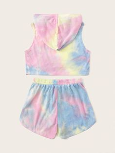 Girls Tie Dye Hoodie And Dolphin Shorts Set – kidenhome Teenage Girl Outfits, Girls Fashion Clothes, Kids Outfits Girls, Teen Fashion Outfits, Tomboy Outfits, Emo Outfits, Punk Fashion, Tie Dye Outfits, Crop Top Outfits