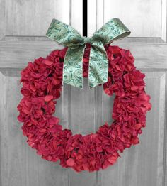 Hey, I found this really awesome Etsy listing at https://www.etsy.com/listing/205757952/christmas-holiday-red-hydrangea-wreath