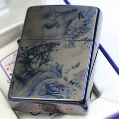 [Zippo type] Regular [Processing] Blue titanium coating, Laser processing [Accessories] Zippo company's Guarantee, Zippo gift box Genuine Japanese Zippo Lighter Made in the USA and finished in Japan Zippo Collection, Japanese Dragon, Zippo Lighter, Light Blue, Sculpture, Cigar, Knives, Gadgets, Fire