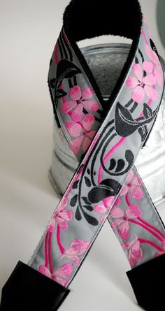 Designer Camera Strap flowers pink black gray nikon by SassyStrap, $31.50