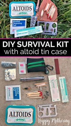 Learn how to make a DIY Survival Kit from an upcycled Altoid tin and get ideas on how to fill it with the best supplies. This easy adult craft is fun with a purpose! From first aid to fishing, this mini tin has it all. #altoids #altoidtins #altoidtincrafts #survivalkit #firstaidkit #altoidtinideas #diy #howto #diysurvivalkit #firstaid #parenting #crafts Survival Kit Gifts, Survival Life Hacks, Survival Items, Easy Adult Craft, Adult Crafts, Emergency Packs, Prescription Bottles, Green Craft, Fishing Kit