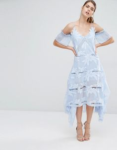 Image 1 ofSelf Portrait Floral Embroidered Midi Dress