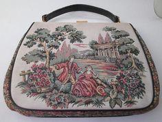 Vintage Tapestry Bag Carpet Bag La Marquise Large Handbags
