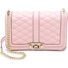 Rebecca Minkoff Love Cross Body Bag featuring polyvore, fashion, bags, handbags, shoulder bags, purses, baby pink, leather handbags, leather man bag, pink leather handbag, hand bags and handbags & purses