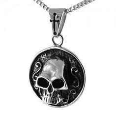 Stainless Steel Circular Skull Pendant