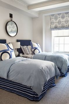 Blue Boys Bedroom - Design photos, ideas and inspiration. Amazing gallery of interior design and decorating ideas of Blue Boys Bedroom in bedrooms, boy's rooms by elite interior designers. Home Bedroom, Kids Bedroom, Bedroom Decor, Design Bedroom, Bedroom Ideas, Coastal Bedrooms, Guest Bedrooms, Guest Room, Teen Bedrooms
