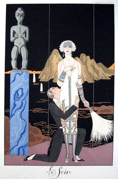 "Illustration by George Barbier (1882-1932), Le soir, ""Falbalas & fanfreluches"", Charles Rahn Fry Pochoir Collection."