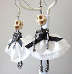 Sugar Skull Earrings Ballerina Dancing Skeleton by sweetie2sweetie, $16.99