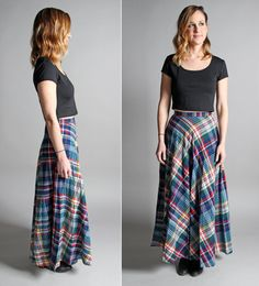 Vintage 1970s Bias Plaid Maxi Skirt Multi Color by GirlLeastLikely