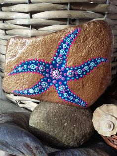 Painted rock étoile de mer peint peinture acrylique