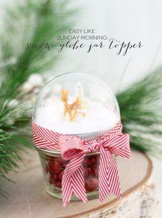 Snow Globe Mason Jar Topper   Damask Love