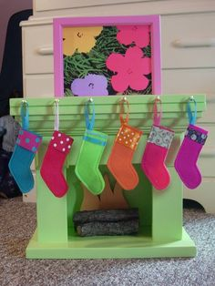 DIY Christmas Stockings with Stocking Hook Rack for American Girl Dolls Doll Crafts, Diy Doll, Crafts For Girls, Diy For Kids, Ag Dolls, Girl Dolls, Christmas Stockings, Christmas Diy, Christmas Fireplace