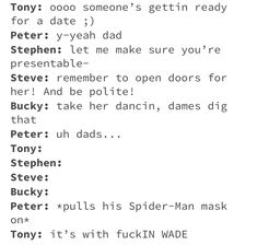 Don't ship it but it's hilarious🤣🤣🤣🤣<<<< It depends on Peter's age, tbh. Funny Marvel Memes, Marvel Jokes, Avengers Memes, Marvel Avengers, Superfamily, Spideypool, Disney Marvel, Marvel Dc Comics, Thor