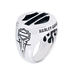 Harley-Davidson Bar & Shield Silver Ring by Thierry Martino, designed and crafted by bikers for bikers. #HDbyTM #TMsilverjewelry #TMsilverring #TMsilverbarandshield http://www.soulfetish.com/en/jewelry/harley-davidson/ring/hdr113