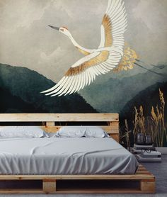 This stunning Elegant Flight wallpaper is a fabulous feature wall if you desire a navy blue and gold interiors look. Although the gold ink will not provide a shimmery effect, this heron wall mural is extremely beautiful and striking. Style with a simple palette bed and light grey bedding for a minimalist bedroom look. Get the look at Wallsauce.com! Gold Interior, Interior Design, Oriental Wallpaper, Asian Wallpaper, Art Deco Decor, Art Deco Wall Art, Art Deco Wallpaper, Art Deco Bedroom, Wall Design