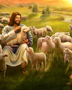 Christians all know the Lord Jesus' parable of the lost sheep. Jesus Christ Painting, Jesus Art, Pictures Of Jesus Christ, Bible Pictures, Pictures Of God, Christian Artwork, Christian Pictures, Jesus Is Risen, Jesus Is Lord