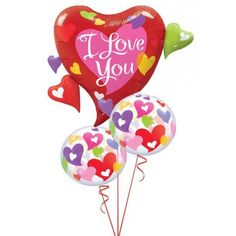 In this arrangement: 1 x Multi Hearts Supershape Foil (110cm), 2 x Hearts Bubble (56cm), Matching Ribbon & Weight, Personalised Greeting Card. Send Balloons Australia