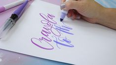 Brush lettering with Crayola markers — TwoEasels Crayola Calligraphy, Brush Pen Calligraphy, Calligraphy Tutorial, Lettering Tutorial, Modern Calligraphy, Calligraphy Tools, Cool Lettering, Lettering Styles, Brush Lettering