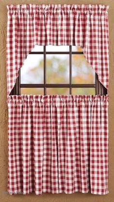 buffalo check valence curtains   buffalo red check,curtain panels,swag,prairie curtain,tiers,valance ...
