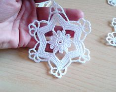 Crochet snowflakes Christmas decorations set of 6 crochet snowflakes Christmas tree decorations close package. Crochet Snowflake Pattern, Crochet Snowflakes, Crochet Flower Patterns, Crochet Flowers, Crochet Christmas Ornaments, Holiday Crochet, Christmas Snowflakes, Christmas Tree Decorations, Christmas Bells