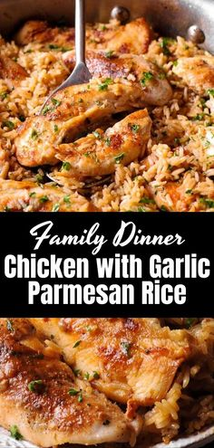 Chicken with Garlic Parmesan Rice is ideal for dinner on weekdays. This quick recipe for chicken and rice is not only delicious but also uses ingredients you may have! Recipes chicken Chicken with Garlic Parmesan Rice Chicken Rice Recipes, Rice Recipes For Dinner, Crockpot Recipes, Healthy Recipes, Keto Chicken, Baked Chicken, Yummy Quick Recipes, Rotisserie Chicken, Quick Chicken Dinner Recipes