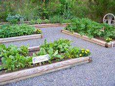 garden beds in gravel: My dream! So french potager. Garden Yard Ideas, Love Garden, Summer Garden, Garden Beds, Backyard Ideas, Verticle Vegetable Garden, Herb Garden, Le Baobab, Living Off The Land